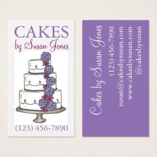 Tarjeta De Visita Pastel de bodas de la panadería que adorna los