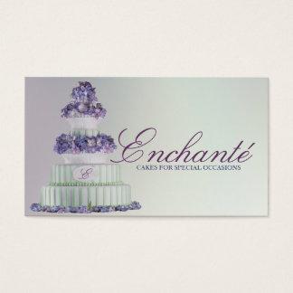 Tarjeta De Visita Pastel de bodas púrpura azul romántico del