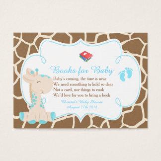 Tarjeta De Visita Pedido lindo del libro de la jirafa del muchacho