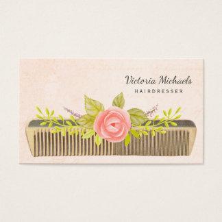 Tarjeta De Visita Peine y rosas del vintage para el peluquero