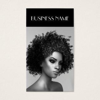 Tarjeta De Visita Pelo elegante del Afro de la moda