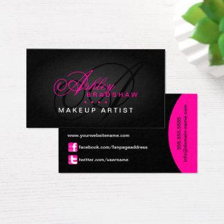 Tarjeta De Visita Pelo y monograma del artista de maquillaje