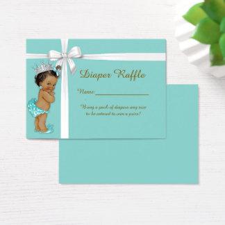 Tarjeta De Visita Pequeña princesa Diaper Raffle Tickets, menta de