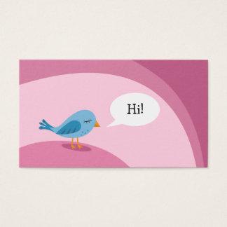 Tarjeta De Visita Pequeño pájaro azul con la burbuja del discurso en