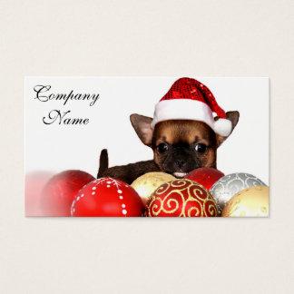 Tarjeta De Visita Perrito de la chihuahua del navidad