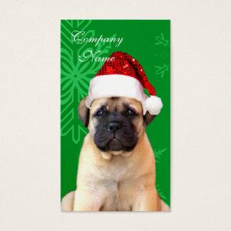 Tarjeta De Visita Perrito del bullmastiff del navidad