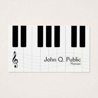 Tarjeta De Visita Piano blanco y negro del músico