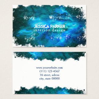 Tarjeta De Visita Pincelada azul marino abstracta de la acuarela