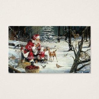 Tarjeta De Visita Pintura de Papá Noel - arte del navidad