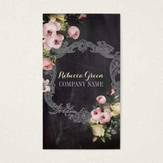 Tarjeta De Visita Pizarra floral botánica del vintage elegante