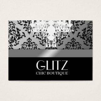 Tarjeta De Visita Plata del damasco del negro del boutique del Glitz