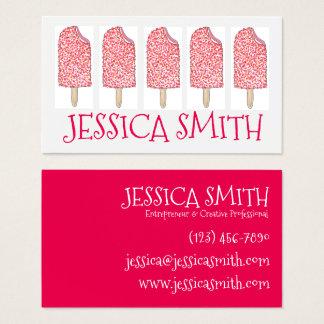 Tarjeta De Visita Popsicles Foodie del rosa del helado del Eclair de