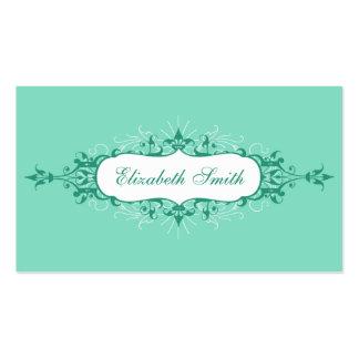 Tarjeta de visita preciosa del Flourish en azul y