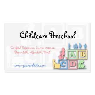 Tarjeta de visita preescolar del cuidado de niños tarjetas de visita