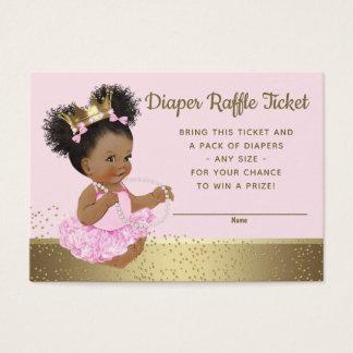 Tarjeta De Visita Princesa rosada Diaper Raffle Tickets del oro