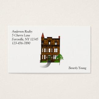 Tarjeta De Visita Profesión de los bienes raices con la casa clásica