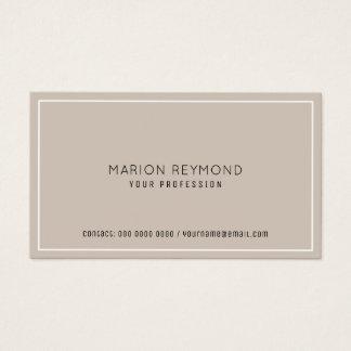 Tarjeta De Visita profesional de color topo pálido elegante mínimo