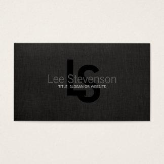 Tarjeta De Visita Profesional de lino de la mirada del negro simple