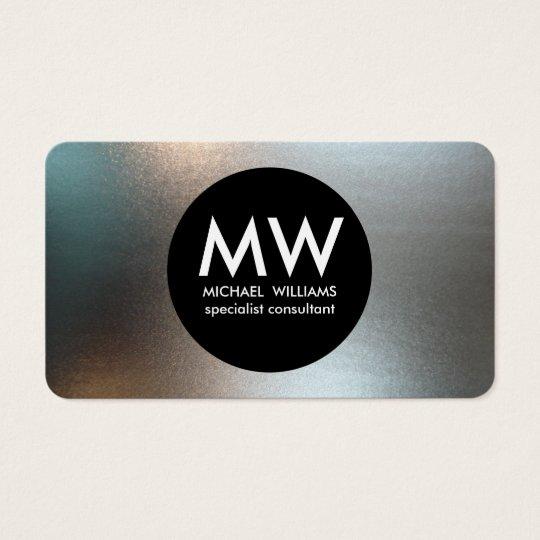 Tarjeta De Visita Profesional elegante metal círculo negro plata