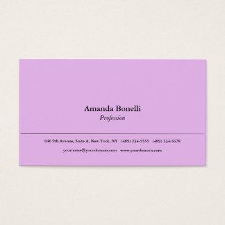 Tarjeta De Visita Profesional elegante minimalista llano rosado