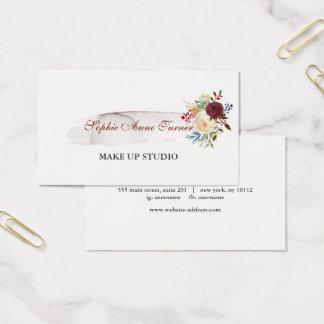 Tarjeta De Visita Profesional floral de Borgoña del Watercolour
