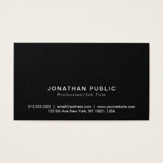 Tarjeta De Visita Profesional negro moderno minimalista elegante