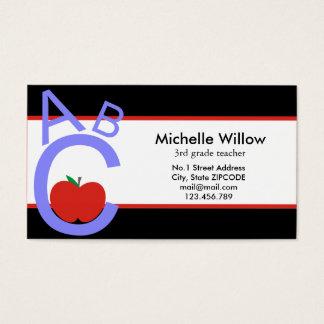 Tarjeta De Visita Profesor de escuela de ABC Apple