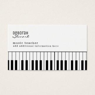 Tarjeta De Visita profesor de música del piano elegante