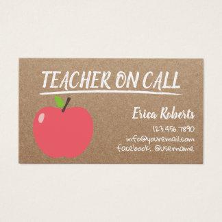 Tarjeta De Visita Profesor en la llamada Apple lindo Kraft rústico