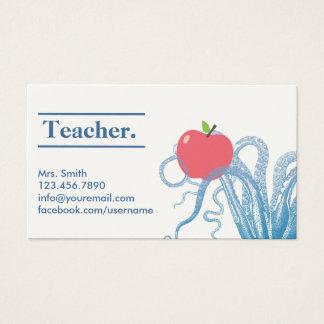 Tarjeta De Visita Pulpo elegante y Apple del profesor únicos