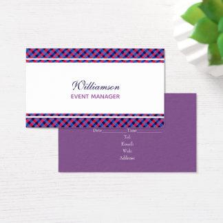Tarjeta de visita púrpura de la tela escocesa del