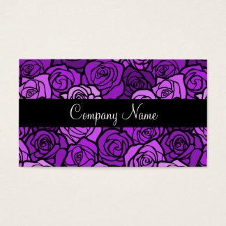 Tarjeta de visita púrpura de los rosas del vintage