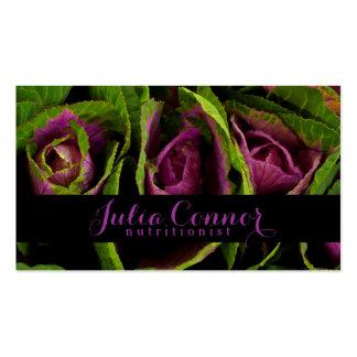 Tarjeta de visita púrpura del nutricionista de la