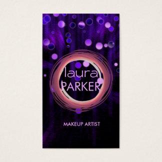 Tarjeta De Visita Púrpura del purpurina de la belleza del artista de