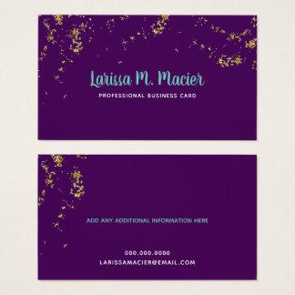 Tarjeta De Visita purpurina. falsos puntos del oro + púrpura