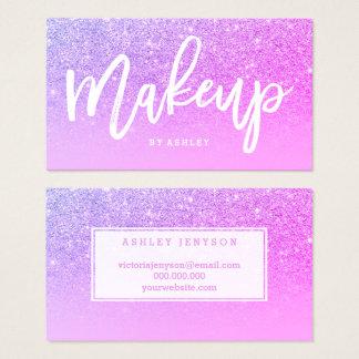 Tarjeta De Visita Purpurina púrpura del rosa de la tipografía del