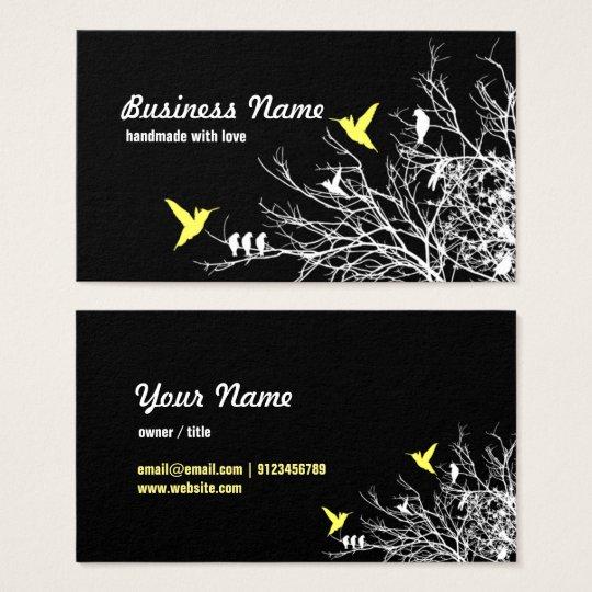 tarjeta de visita - ramas de árbol y dos pájaros