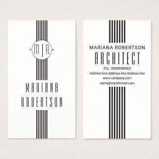 Tarjeta De Visita Rayas elegantes y blanco negro del monograma