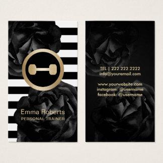 Tarjeta De Visita Rayas florales del negro personal del instructor