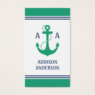 Tarjeta De Visita Rayas náuticas con el monograma verde del ancla