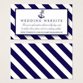 Tarjeta De Visita Rayas náuticas y boda del ancla de los azules