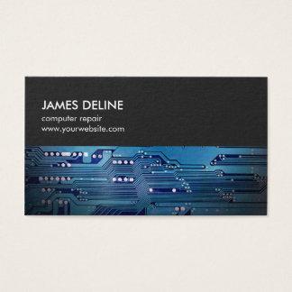 Tarjeta De Visita Reparación azul gris simple del ordenador de placa