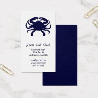 Tarjeta De Visita Restaurante azul marino de los mariscos de la