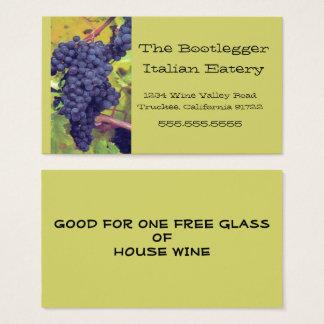 Tarjeta De Visita Restaurante italiano o Vinyard de las uvas
