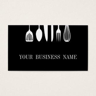 Tarjeta De Visita Restaurante negro y blanco moderno de la cuchara y