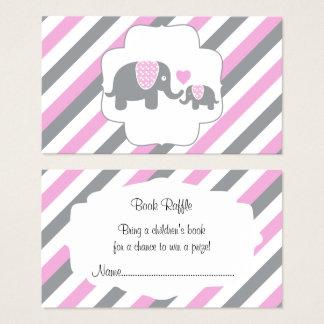 Tarjeta De Visita Rifa blanca, rosada y gris del libro de los