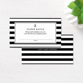 Tarjeta De Visita Rifa náutica negra y blanca del pañal de la fiesta