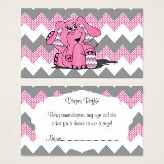 Tarjeta De Visita Rifa rosada y gris del pañal del bebé del elefante