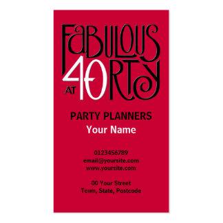Tarjeta de visita roja blanca negra 40 fabulosos