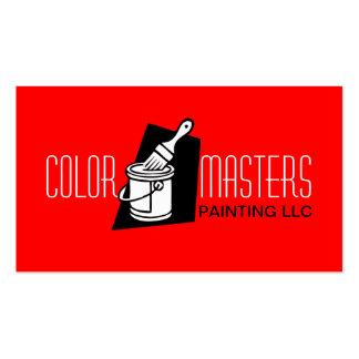 Tarjeta de visita roja de construcción del pintor